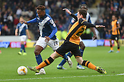 Jacques Maghoma of Birmingham city and Hull City defender Andrew Robertson during the Sky Bet Championship match between Hull City and Birmingham City at the KC Stadium, Kingston upon Hull, England on 24 October 2015. Photo by Ian Lyall.