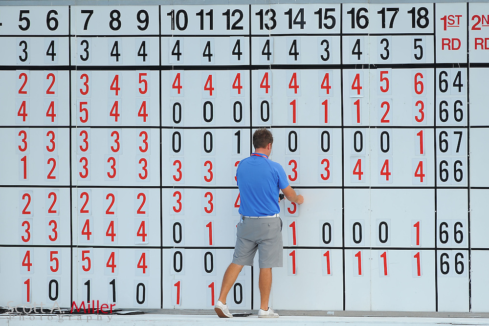 The scoreboard during the first round of the Honda Classic at PGA National on March 1, 2012 in Palm Beach Gardens, Fla. ..©2012 Scott A. Miller.