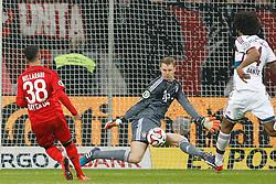 08.04.2015, BayArena, Leverkusen, GER, DFB Pokal, Bayer 04 Leverkusen vs FC Bayern Muenchen, Viertelfinale, im Bild Torwart Manuel Neuer (FC Bayern Muenchen #1) mit einer Parade gegen Karim Bellarabi (Bayer 04 Leverkusen #38) // during the German DFB Pokal quarter final match between Bayer 04 Leverkusen and FC Bayern Munich at the BayArena in Leverkusen, Germany on 2015/04/08. EXPA Pictures &copy; 2015, PhotoCredit: EXPA/ Eibner-Pressefoto/ Schueler<br /> <br /> *****ATTENTION - OUT of GER*****