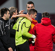 FYR Macedonia goalkeeper Igor Aleksovski is congraualted after the final whistle - Scotland Under-21 v FYR Macedonia,  UEFA Under 21 championship qualifier  at Tynecastle, Edinburgh. Photo: David Young<br /> <br />  - © David Young - www.davidyoungphoto.co.uk - email: davidyoungphoto@gmail.com