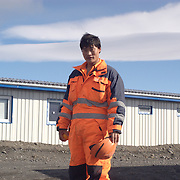 One worker going back to his room after his work shift. Karahnjukar, Iceland