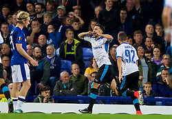 LIVERPOOL, ENGLAND - Thursday, September 28, 2017: EApollon Limassol's Adrián Sardinero celebrates scoring the first goal during the UEFA Europa League Play-Off 1st Leg match between Everton and Apollon Limassol FC at Goodison Park. (Pic by David Rawcliffe/Propaganda)