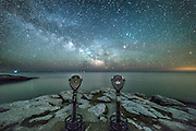 The viewfinders on Griffiths Head at Reid State Park are seen under a night sky filled with stars.