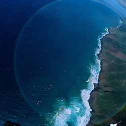 Double Circular Rainbow Over Na Pali Coast (Aerial), Kauai, Hawaii, US