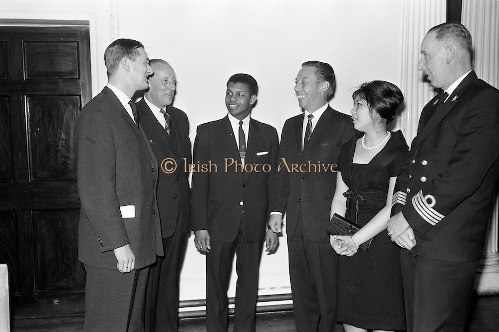 18/02/1963<br /> 02/18/1963<br /> 18 February 1963<br /> Caribbean Pioneer Line reception at the Shelbourne Hotel, Dublin. At the reception were (l-r): Mr E.P. Dumas, Joint Managing Director of H.V. Stoomboot -Maatschappij Hillegersberg; Mr F.M Port (Pont?), Manager, Operations Department, Caribbean Pioneer Line; Mr John Brown, President West Indian Students Association;  Mr H. Walsh, General Manager Coras Trachtala; Miss Joan Yee Wo, Social Secretary, West Indian Students Association and Captain A.M.N. Van den Broeke.