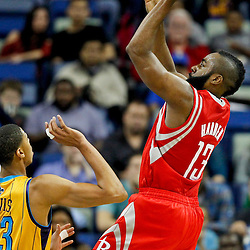 Jan 25, 2013; New Orleans, LA, USA; Houston Rockets shooting guard James Harden (13) shoots over New Orleans Hornets power forward Anthony Davis (23) during the first quarter of a game at the New Orleans Arena. Mandatory Credit: Derick E. Hingle-USA TODAY Sports