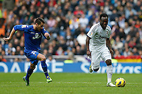 27.01.2013 SPAIN -  La Liga 12/13 Matchday 21th  match played between Real Madrid CF vs Getafe C.F. (4-0) at Santiago Bernabeu stadium. The picture show Michael Essien (Ghana midfieldes of Real Madrid)