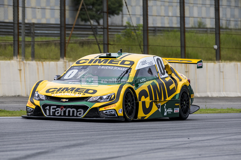 March 9, 2018 - Sao Paulo, Sao Paulo, Brazil - Mar, 2018 - Qualifying training for the pair stage of the Stock Car 2018, at the Autodromo de Interlagos, in São Paulo, this Friday (9). The pilots DANIEL SERRA and JOAO PAULO OLIVEIRA of the team EUROFARMA-RC were in pole position. In the photo the former Formula 1 driver, FELIPE MASSA, pilots the car of his partner Cacá Bueno, by the team CIMED RACING. (Credit Image: © Marcelo Chello via ZUMA Wire)