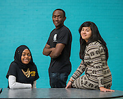 Furaha Shabani, Daniel Titus and Xena Orozco pose for a photograph at North Forest High School, February 19, 2015.
