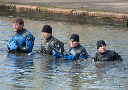 © Licensed to London News Pictures.  27/02/2015. Bristol, UK.  A police diving team search the lake in St George's Park in Bristol, near to the home of missing teenager Rebecca Watts aged 16 who left home in Crown Hill in the St George area of Bristol last Thursday and has not been seen since. Police have carried out extensive searches in the area. Rebecca did not take any spare clothes with her and both her family and the police are very worried for her welfare. Photo credit : Simon Chapman/LNP