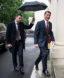 © Licensed to London News Pictures. 10/06/2019. London, UK. Foreign Secretary JEREMY HUNT is seen arriving for a press conference in Westminster, London, for the launch of his bid to be the next leader of the Conservative party. Nominations open today for MPs to officially stand to be the leader of the Tory Party. Photo credit: Ben Cawthra/LNP