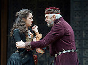 The Merchant of Venice <br /> by William Shakespeare <br /> at The Globe Theatre, London, Great Britain <br /> 25th April 2015 <br /> <br /> Jonathan Pryce as Shylock <br /> <br /> Phoebe Pryce as Jessica <br /> <br /> <br /> <br /> <br /> Photograph by Elliott Franks <br /> Image licensed to Elliott Franks Photography Services