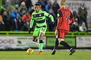 Forest Green Rovers Tahvon Campbell(14) on the ball during the EFL Sky Bet League 2 match between Forest Green Rovers and Grimsby Town FC at the New Lawn, Forest Green, United Kingdom on 22 January 2019.