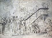 Le Grand Café' (1759).  Gabriel Jacques de Saint-Aubin (1724-1780) French painter and print maker.