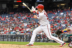 May 6, 2018 - Washington, DC, U.S. - WASHINGTON, DC - MAY 06:  Washington Nationals catcher Matt Wieters (32) singles in the ninth inning during the game between the Philadelphia Phillies  and the Washington Nationals on May 6, 2018, at Nationals Park, in Washington D.C.  The Washington Nationals defeated the Philadelphia Phillies, 5-4.  (Photo by Mark Goldman/Icon Sportswire) (Credit Image: © Mark Goldman/Icon SMI via ZUMA Press)