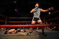 "Referee Drew Gulak mugs for the crowd as Chuck O'Neil lays on the floor of the ring after a bout at the Beyond Wrestling Organization's ""Dream Left Behind"" event, held at the Center for Arts at the Armory in Somerville, Sunday, Jan. 31, 2016."