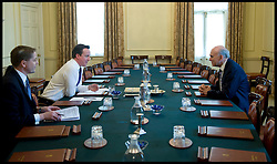 The Prime Minister David Cameron appoints Vince Cable to the cabinet, 10 Downing Street, London, UK, Wednesday May 12, 2010. Photo By Andrew Parsons / i-Images