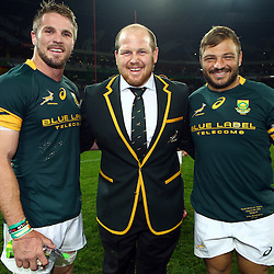 Nelspruit, SOUTH AFRICA, 20 August, 2016 - Jaco Kriel of South Africa with Lourens Adriaanse and Julian Redelinghuys of South Africa during the match between South Africa and Argentina in The Rugby Championship at the Mbombela Stadium, Nelspruit (Photo by Steve Haag UAR)