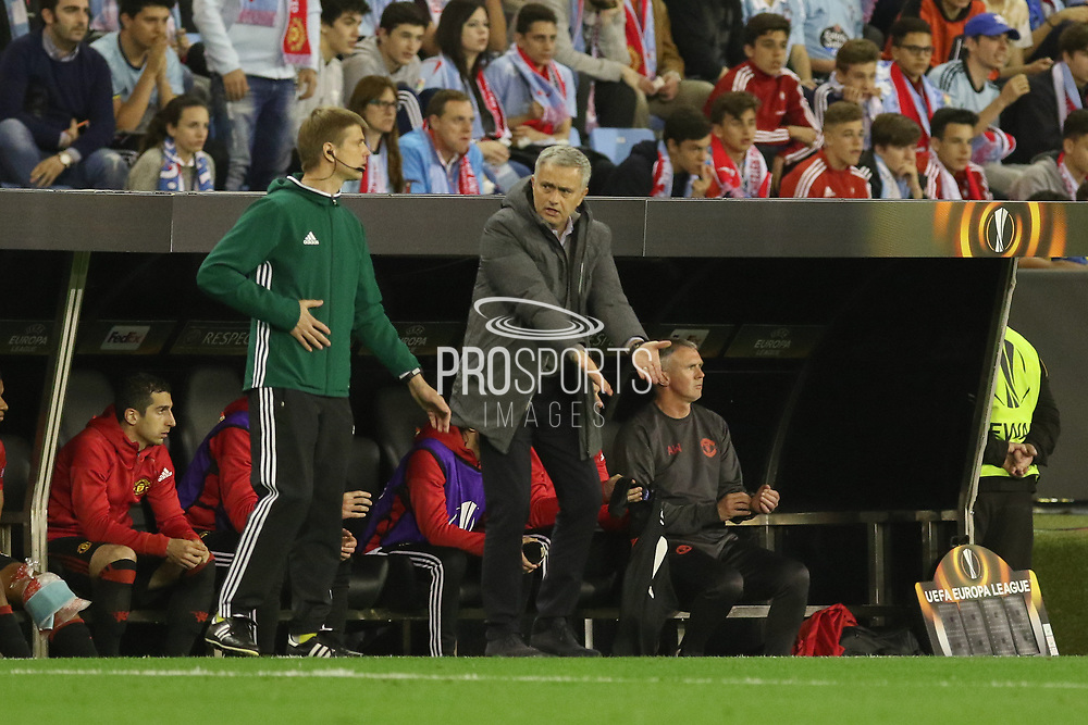 Jose Mourinho Manager of Manchester United Manager appeals during the Europa League semi final game 1 match between Celta Vigo and Manchester United at Balaidos, Vigo, Spain on 4 May 2017. Photo by Phil Duncan.