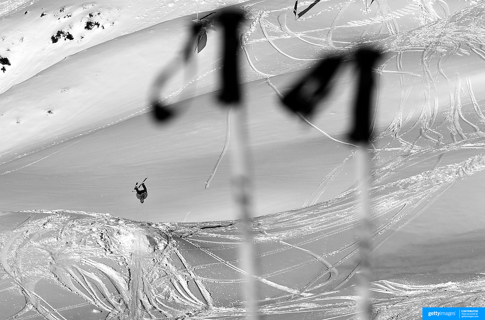 A skier in action during the World Heli Challenge Freestyle Day at Mount Albert on Minaret Station, Wanaka, New Zealand. 31st July 2011