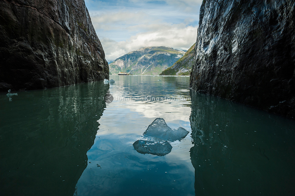 A small iceberg framed by the cliffs of Tracy Arm fjord with a cruise ship visible in the background.