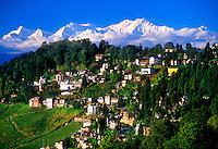 View of Darjeeling with Himalayas in background (Kanchenjunga, third highest peak in the world), Darjeeling, West Bengal, India