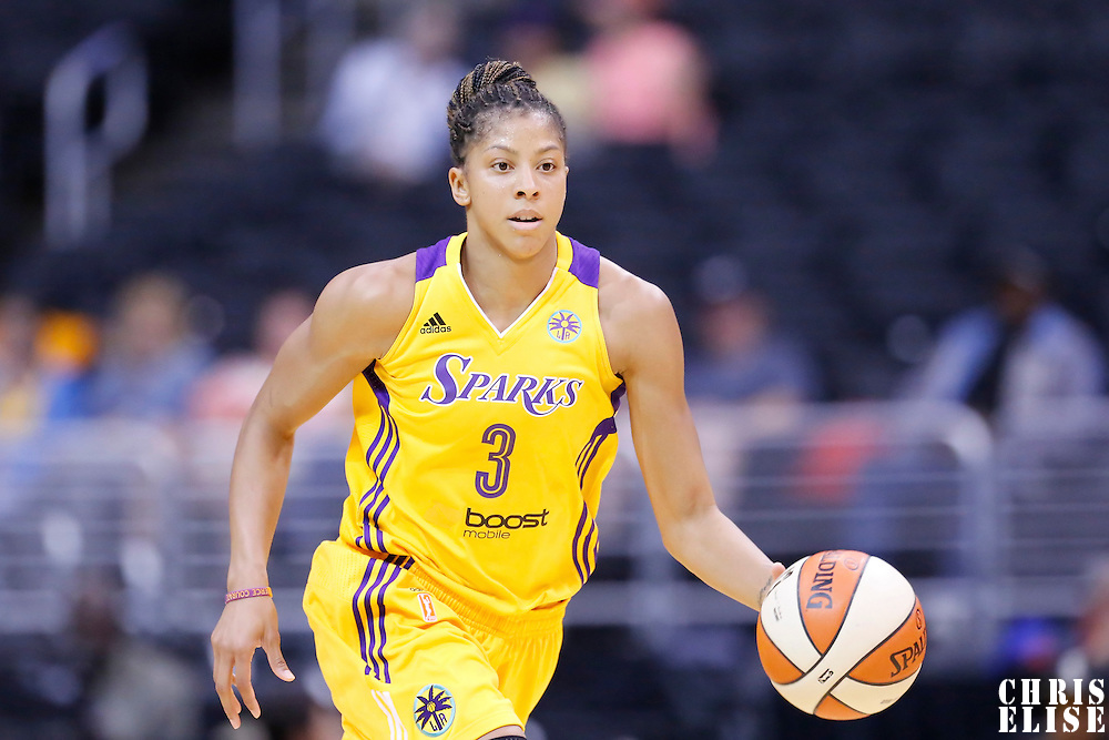 25 May 2014: Los Angeles Sparks forward/center Candace Parker (3) brings the ball up court during the Los Angeles Sparks 83-62 victory over the San Antonio Stars, at the Staples Center, Los Angeles, California, USA.