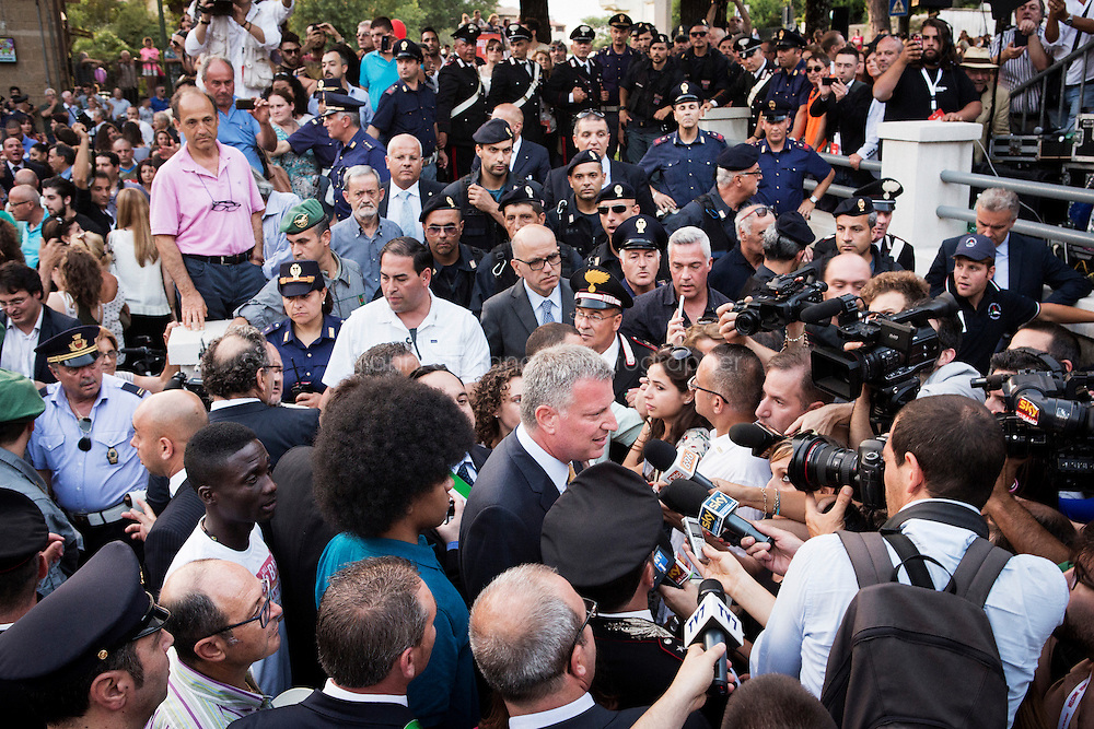 SANT'AGATA DE GOTI, ITALY - 23 JULY 2014: Mayor of New York Bill De Blasio answers to questions by journalists after receiving a honorary citizenship by the mayor of Sant'Agata de Goti, his ancestral home town in Italy, on July 23rd 2014.<br /> <br /> New York City Mayor Bill de Blasio arrived in Italy with his family Sunday morning for an 8-day summer vacation that includes meetings with government officials and sightseeing in his ancestral homeland.