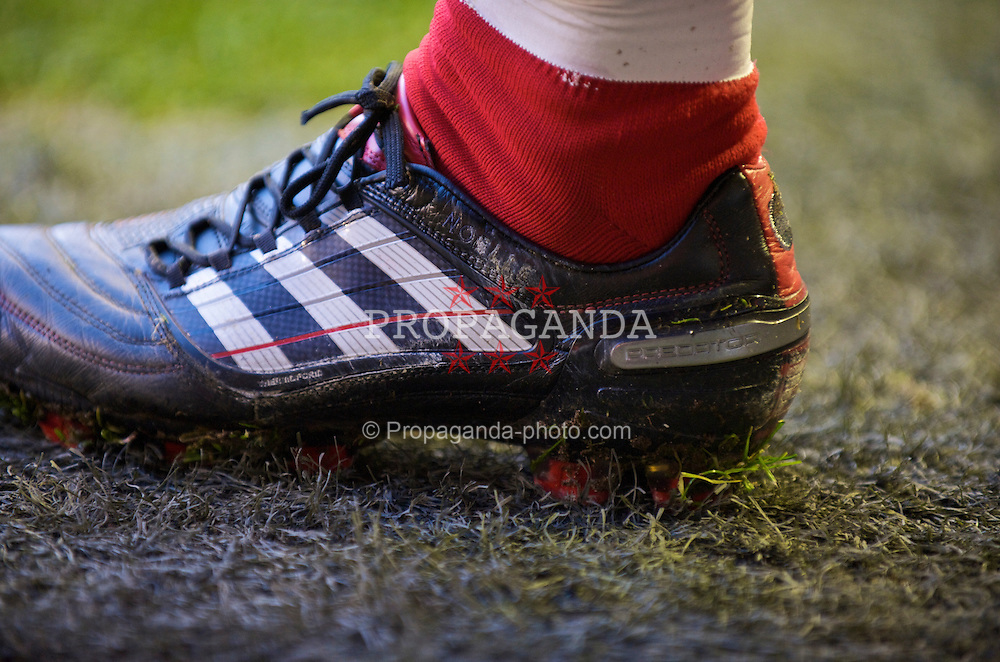 LIVERPOOL, ENGLAND - Saturday, January 30, 2010: The Adidas boot of Liverpool's captain Steven Gerrard MBE during the Premiership match against Bolton Wanderers at Anfield. (Photo by: David Rawcliffe/Propaganda)