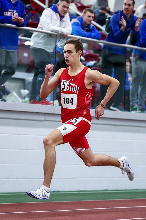 mens 500 meters, BU, Hayden Jennings<br /> Boston University Scarlet and White<br /> Indoor Track & Field, Bruce LeHane
