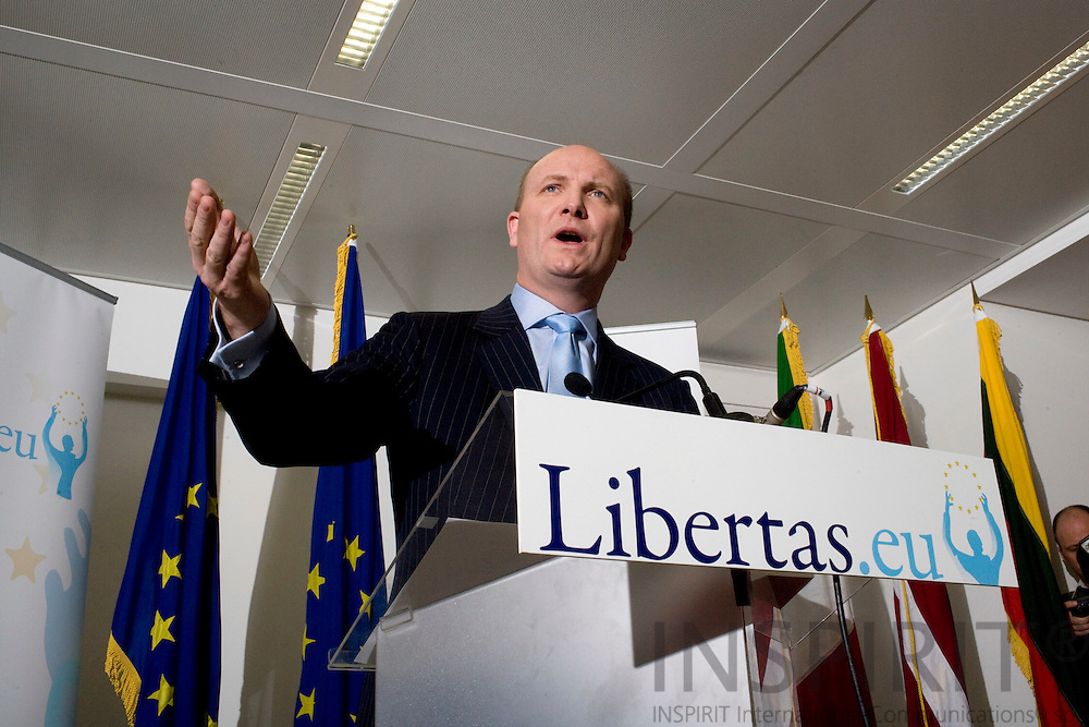 BRUSSELS - BELGIUM - 11 DECEMBER 2008 -- ANTI-LISBON campaigner Declan GANLEY announces the new political party Libertas as 'European political movement' and will compete in next June's  European elections in 2009 on a Pan-European basis for the European Parliament. Photo: Erik Luntang