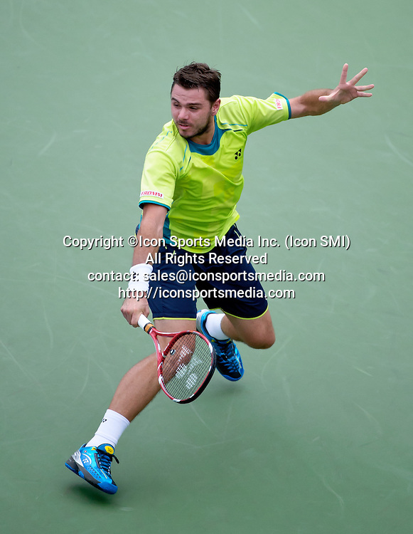 September 5, 2012: Stanislas Wawrinka of Switzerland (SUI) in action against Serbia's Novak Djokovic (SRB) during their fourth round Men's Singles match on Day 10 of the 2012 U.S. Open Tennis Championships at the USTA Billie Jean King National Tennis Center in Flushing, Queens, New York, USA. ***** SWITZERLAND OUT *****