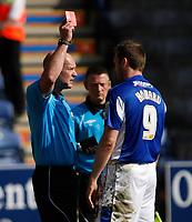 Photo: Steve Bond/Richard Lane Photography. Leicester City v Watford. Coca Cola Championship. 17/04/2010. Ref NS Miller shows Steve Howard the red card