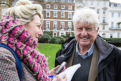 London, UK. 26th January, 2019. Stanley Johnson is interviewed before the Japan: No Whaling march from Cavendish Square to the Japanese embassy following Japan's announcement that it withdraw from the International Whaling Commission (IWC) and resume commercial whaling with effect from July 2019. The march was organised by the London Committee for the Abolition of Whaling.