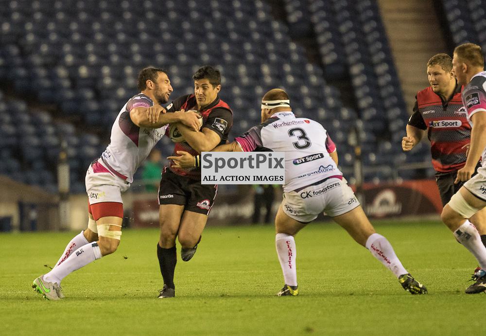 Edinburgh Rugby #10 Phil BURLEIGH tries to break the Osprey's defence.  Edinburgh Rugby v Ospreys, 2nd October 2015