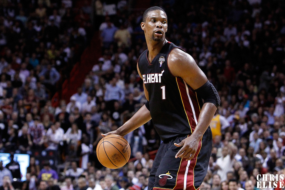 10 March 2011: Miami Heat power forward Chris Bosh (1) is seen during the Miami Heat 94-88 victory over the Los Angeles Lakers at the AmericanAirlines Arena, Miami, Florida, USA.