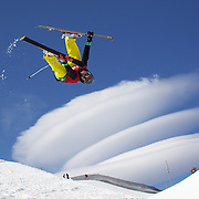 Kalle Hilden, Finland, in action in the Men's Halfpipe Finals during The North Face Freeski Open at Snow Park, Wanaka, New Zealand, 3rd September 2011. Photo Tim Clayton...