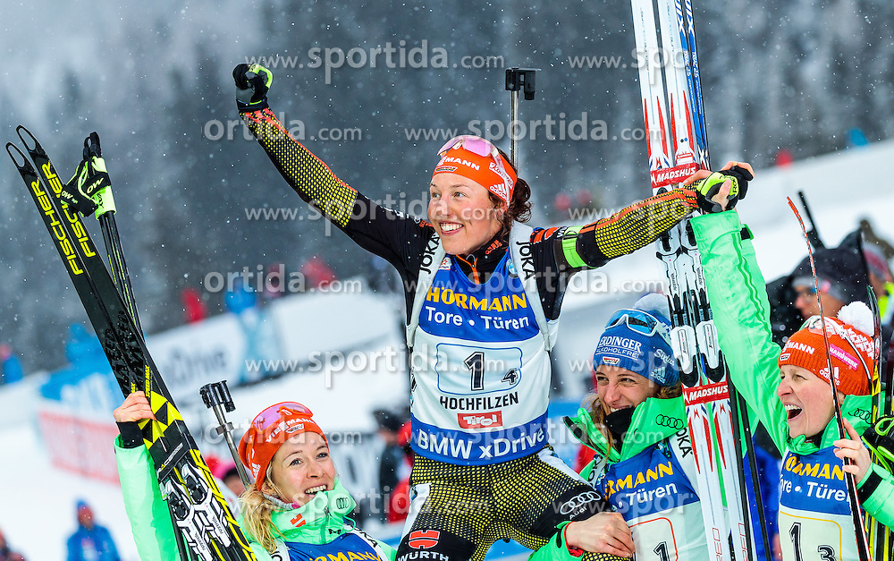 17.02.2017, Biathlonarena, Hochfilzen, AUT, IBU Weltmeisterschaften Biathlon, Hochfilzen 2017, Staffel Damen, im Bild Vanessa Hinz (GER), Maren Hammerschmidt (GER), Franziska Hildebrand (GER), Laura Dahlmeier (GER) // Vanessa Hinz of Germany Maren Hammerschmidt of Germany Franziska Hildebrand of Germany Laura Dahlmeier of Germany during Womens Relay of the IBU Biathlon World Championships at the Biathlonarena in Hochfilzen, Austria on 2017/02/17. EXPA Pictures © 2017, PhotoCredit: EXPA/ JFK