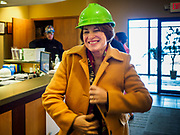 12 APRIL 2019 - NEVADA, IOWA: US Senator AMY KLOBUCHAR (D-MN) bundles up before touring the Lincolnway Energy, an ethanol plant in Nevada, IA. Sen. Klobuchar is touring Iowa this weekend to support her bid for the Democratic nomination of for the US Presidency. Iowa traditionally hosts the the first election event of the presidential election cycle. The Iowa Caucuses will be on Feb. 3, 2020.          PHOTO BY JACK KURTZ