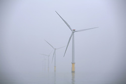 UK ENGLAND NORFOLK SHERINGHAM SHOAL 25SEP13 - General view of wind turbines during a misty day at the Sheringham Shoal wind farm in the North Sea off the Norfolk coast, England.<br /> <br /> Operated by Scira, the wind farm consists of 88 Siemens 3.6 MW wind turbines (model SWT-3.6-107 costing €450m ($597m)), giving a total combined nameplate capacity of 317 MW.<br /> <br /> <br /> <br /> jre/Photo by Jiri Rezac<br /> <br /> <br /> <br /> © Jiri Rezac 2013