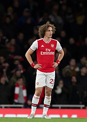LONDON, ENGLAND - Thursday, December 5, 2019: Arsenal's David Luiz looks dejected after Brighton & Hove Albion score the opening goal during the FA Premier League match between Arsenal FC and Brighton & Hove Albion FC at the Emirates Stadium. (Pic by Vegard Grott/Propaganda)