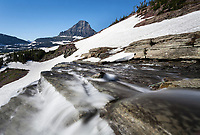 MT00133-00...MONTANA - Renolds Mountain and waterfall at Logan Pass in Glacier National Park,