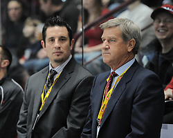 Bob Boughner and Bobby Orr in the Home Hardware Top Prospects Skills Competition in Windsor ON on Tuesday. Photo by Terry Wilson / OHL Images
