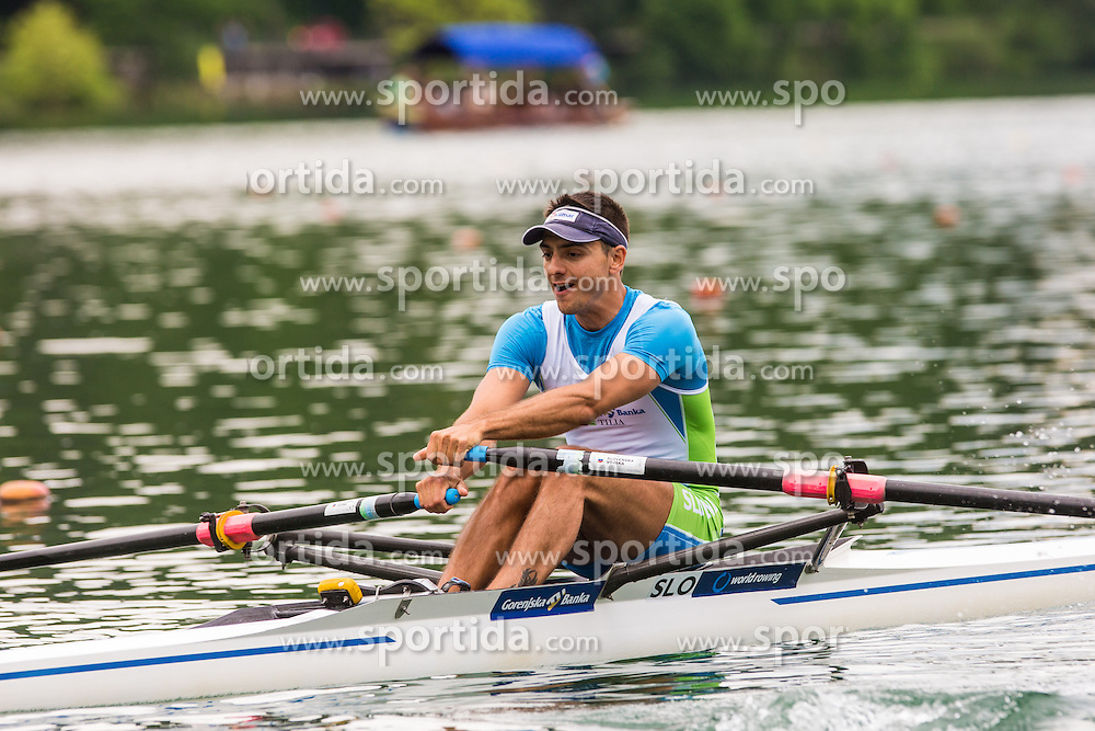 Gasper Fistravec of Slovenia during qualification round of Rowing World Cup on May 9, 2015, at Bled's lake, Bled, Slovenia. (Photo by Grega Valancic / Sportida)