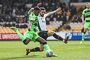 Forest Green Rovers Reece Brown(10) crosses the ball during the EFL Sky Bet League 2 match between Port Vale and Forest Green Rovers at Vale Park, Burslem, England on 23 March 2019.