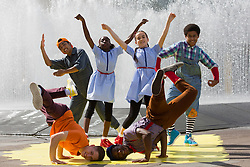 "© Licensed to London News Pictures. 07/08/2013. London, England. ZooNation Dance Company return to the Southbank Centre with the world premiere of ""Groove on Down the Road"", a hip hop take on the ""Wizard of Oz"" story. With Portia Oti and Arizona Snow as Dorothy, Michael McNeish as Toto, Jaih Betote Dipito as Scarecrow, Michael Ureta as Tin Man and Corey Culverwell as Lion. Photo credit: Bettina Strenske/LNP"