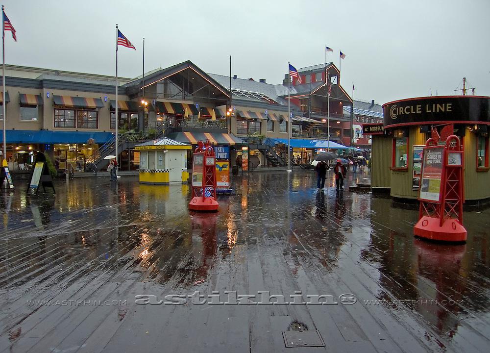 Rain in South Street Seaport