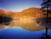 Idaho, central, Basin Lake with gold morning reflection in the Lemhi Range