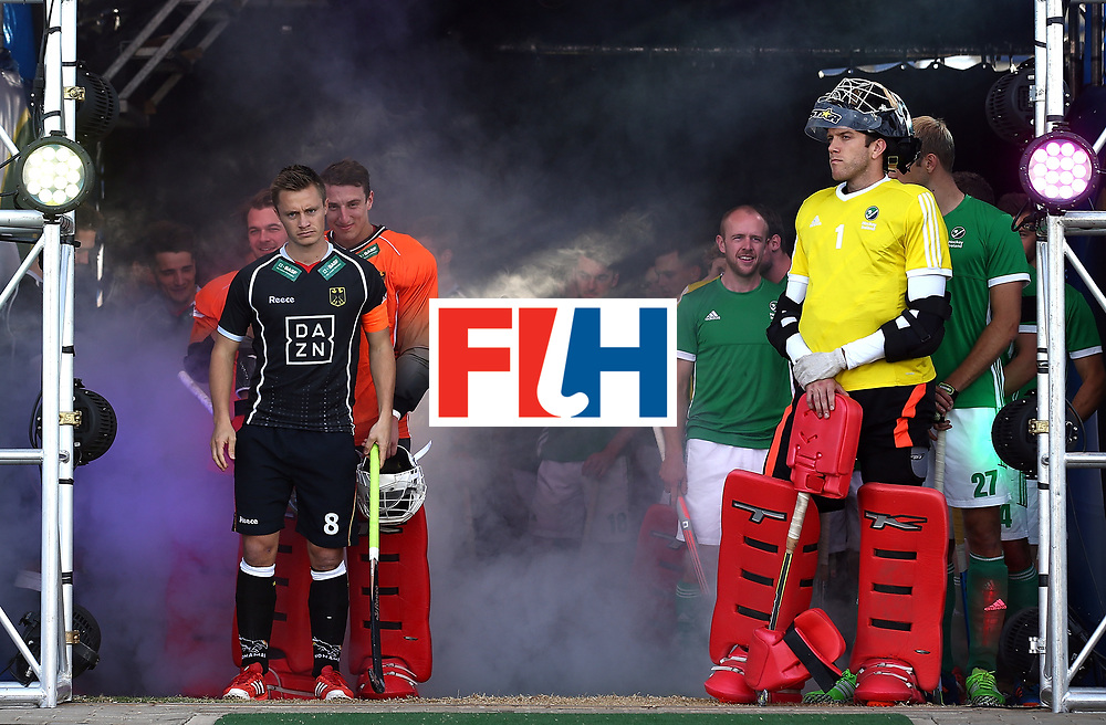 JOHANNESBURG, SOUTH AFRICA - JULY 17:  Mats Grambusch of Germany and David Harte of Ireland line up in the tunnel with their teams during day 5 of the FIH Hockey World League Men's Semi Finals Pool B match between Germany and Ireland at Wits University on July 17, 2017 in Johannesburg, South Africa.  (Photo by Jan Kruger/Getty Images for FIH)