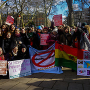London, UK, 8th March 2018. Women's Strike Assembly - UK hold a strike rally at Russell Square to coincide with International Women's Day. The strike was called for women to take action on women's rights issues.